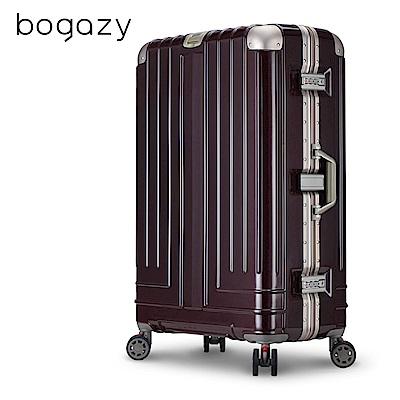 Bogazy 權傾皇者 29吋菱格紋鋁框行李箱(金褐色)