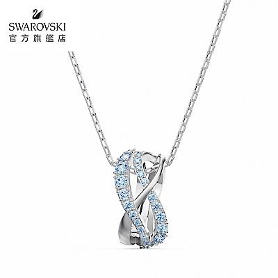 SWAROVSKI 施華洛世奇 Twist Rows 白金色流線造型藍水晶項鍊
