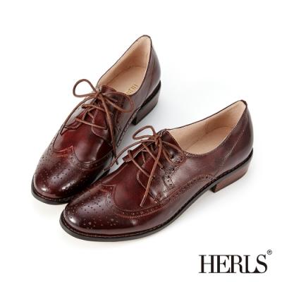 HERLS牛津鞋-全真皮雕花圓頭粗跟德比鞋牛津鞋-紅棕色