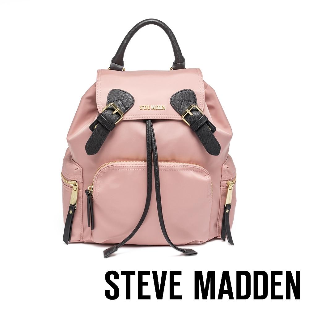 STEVE MADDEN-BSOLLY 時尚有型 超大容量軍旅後背包-藕粉色