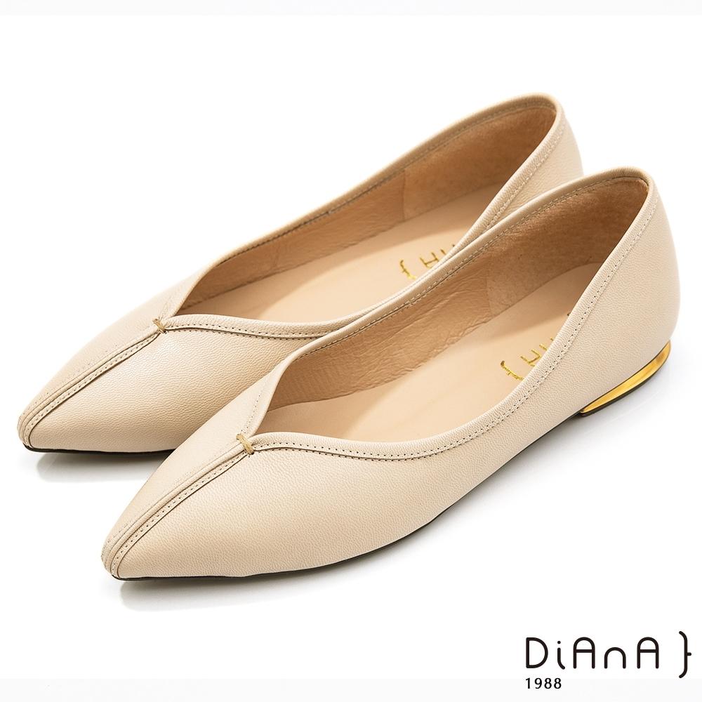 DIANA 2公分超羊皮甜美金屬v字鞋口尖頭跟鞋-漫步雲端焦糖美人款-米
