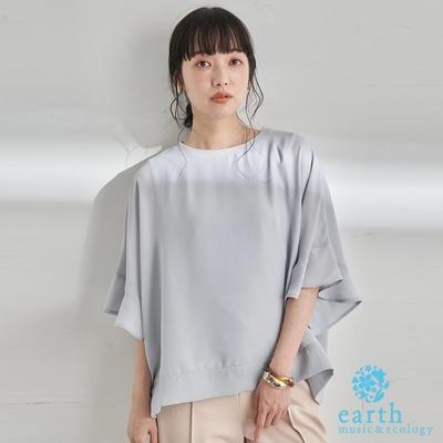 earth music  素面寬鬆異素材拼接設計上衣