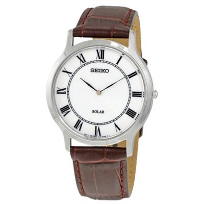 SEIKO精工 大收藏家羅馬時標太陽能男腕錶(SUP869P1)-白x38mm