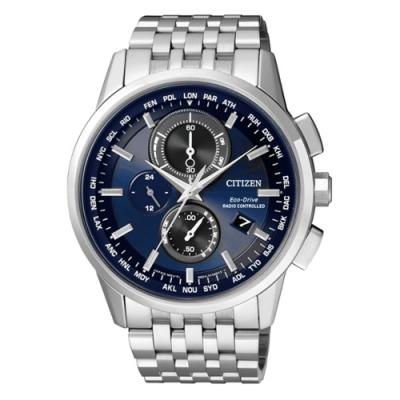 CITIZEN Eco-Drive 超時空武者電波計時腕錶-藍x銀
