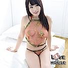 愛愛屋 中國風透視繡花肚兜 紅色