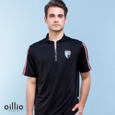 oillio歐洲貴族 短袖小立領T恤 袖子條紋 超柔不皺衣料 輕量穿著上衣 黑色