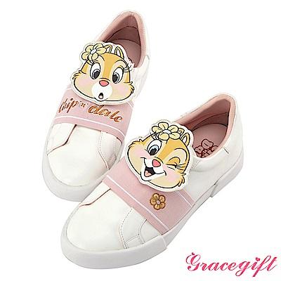 Disney collection by grace gift皮片鬆緊繃帶懶人鞋 粉