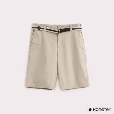 Hang Ten-男裝腰帶純色休閒短褲-卡其