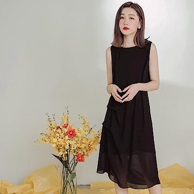 不易皺純色打褶設計背心洋裝-OB大尺碼