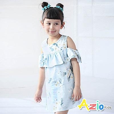 Azio Kids 洋裝 花朵樹葉後單釦無袖露肩洋裝(藍)