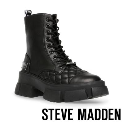 STEVE MADDEN-TANGA ROCK BOTTON 經典綁帶厚底中筒靴-黑色