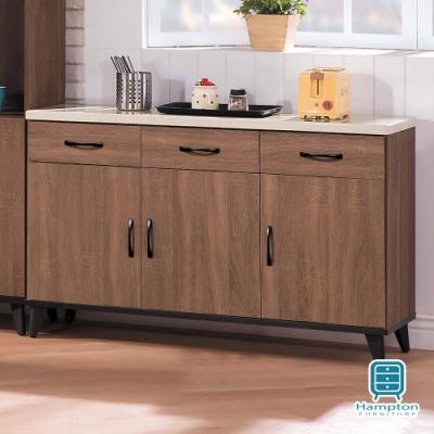 漢妮Hampton道奇系列淺胡桃4尺仿石面碗櫃下櫃-120.9x43x81.4cm