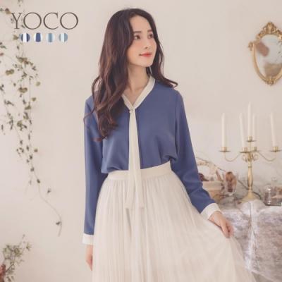 東京著衣-YOCO 典雅知性珍珠綁結雪紡上衣-S.M.L(共三色)