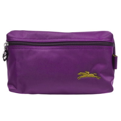 LONGCHAMP 經典LE PLIAGE系列奔馬刺繡圖騰拉鍊萬用化妝包(紫色)