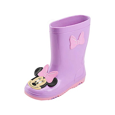 迪士尼 米妮 經典大臉造型 中筒雨鞋-紫