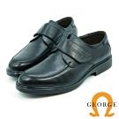 GEORGE 喬治-氣墊系列-牛皮圓頭寬楦魔鬼氈紳士鞋