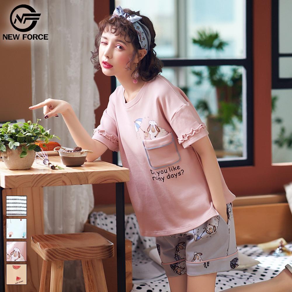 NEW FORCE 柔膚短袖繽紛居家休閒套裝組-粉紅羊