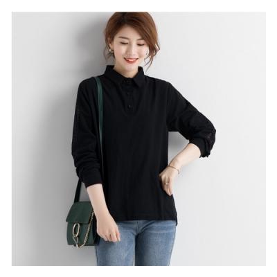 2F韓衣-韓系中大碼蕾絲拼接造型襯衫-黑