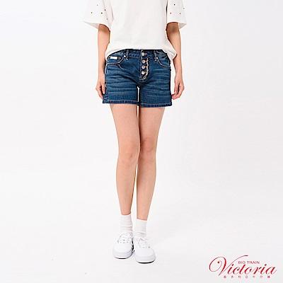 Victoria 中腰天絲棉排釦裝飾短褲-女-中藍