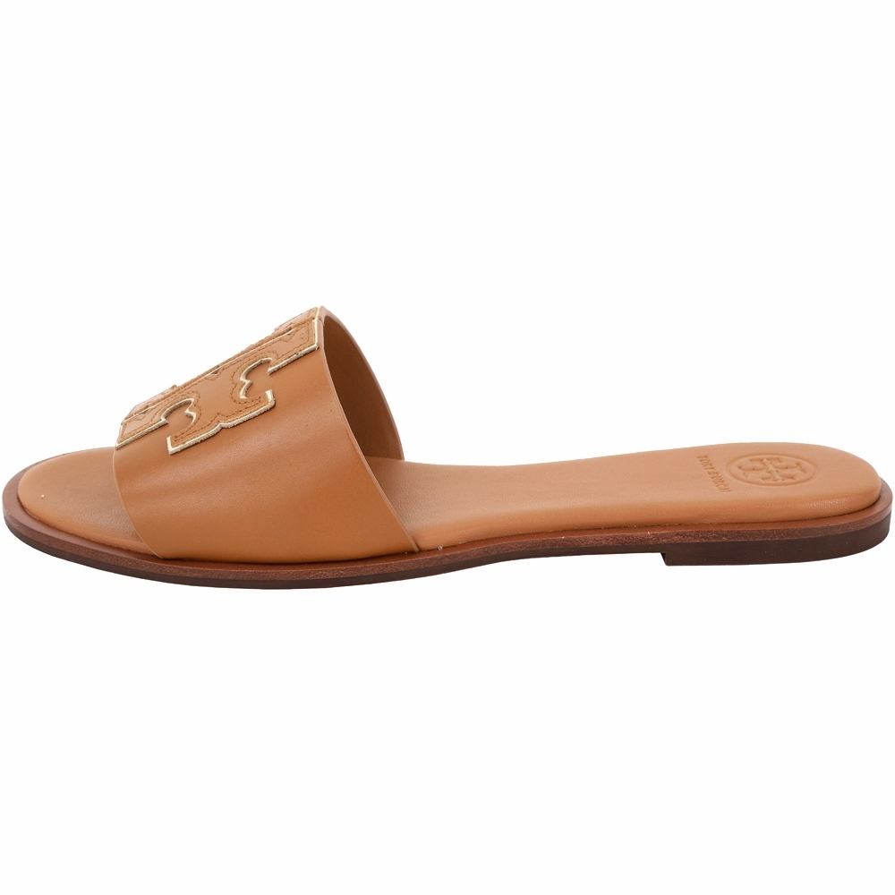 TORY BURCH Ines 雙T金屬色鑲邊牛皮平底拖鞋/涼鞋(棕褐色)