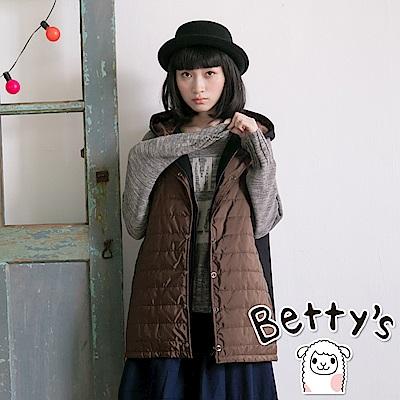 betty's貝蒂思 鋪棉拼接毛料雙層連帽背心外套(共二色)