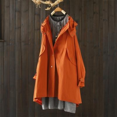 純棉抽繩繫帶連帽風衣中長版寬鬆外套-設計所在