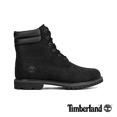 Timberland 女款黑色正絨面皮革防水6吋靴 A15QY