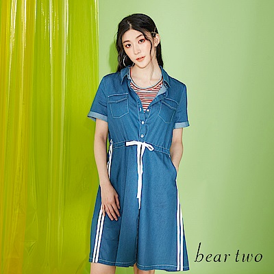 beartwo 休閒丹寧襯衫式洋裝(藍色)