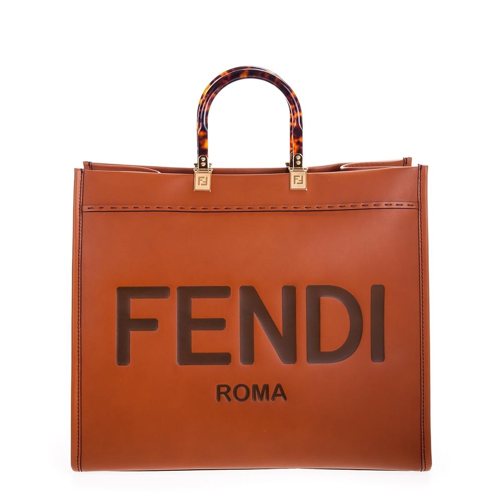 FENDI Sunshine Shopper 棕色皮革Fendi Logo圖案手提袋