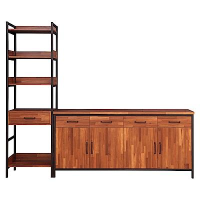 D&T德泰傢俱格萊斯積層木工業風中抽展示架+6尺餐櫃-241.3x45.3x196cm