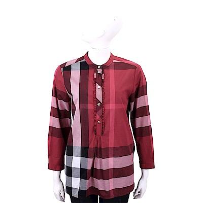 BURBERRY 胭脂紅格紋棉質長袖上衣