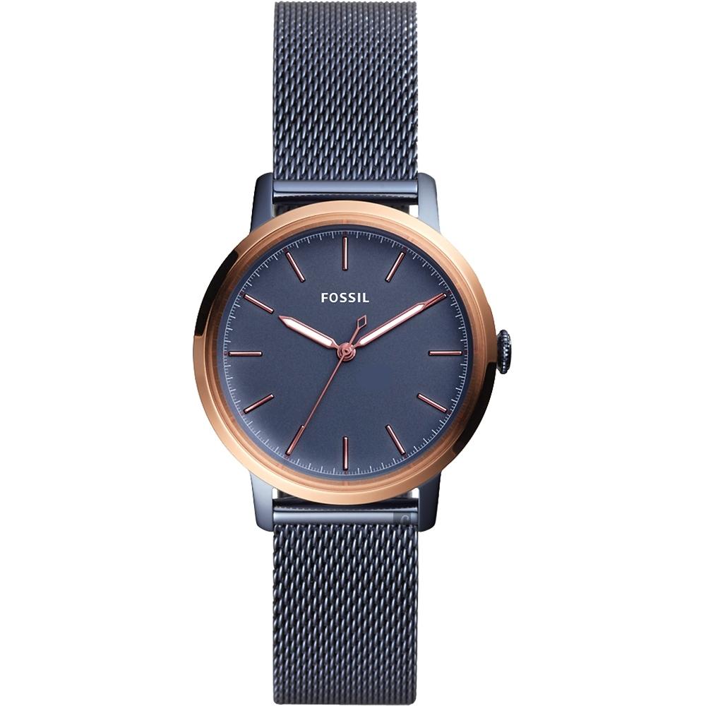 FOSSIL Neely 永恆時光米蘭帶女錶-藍x玫瑰金框/34mm ES4312