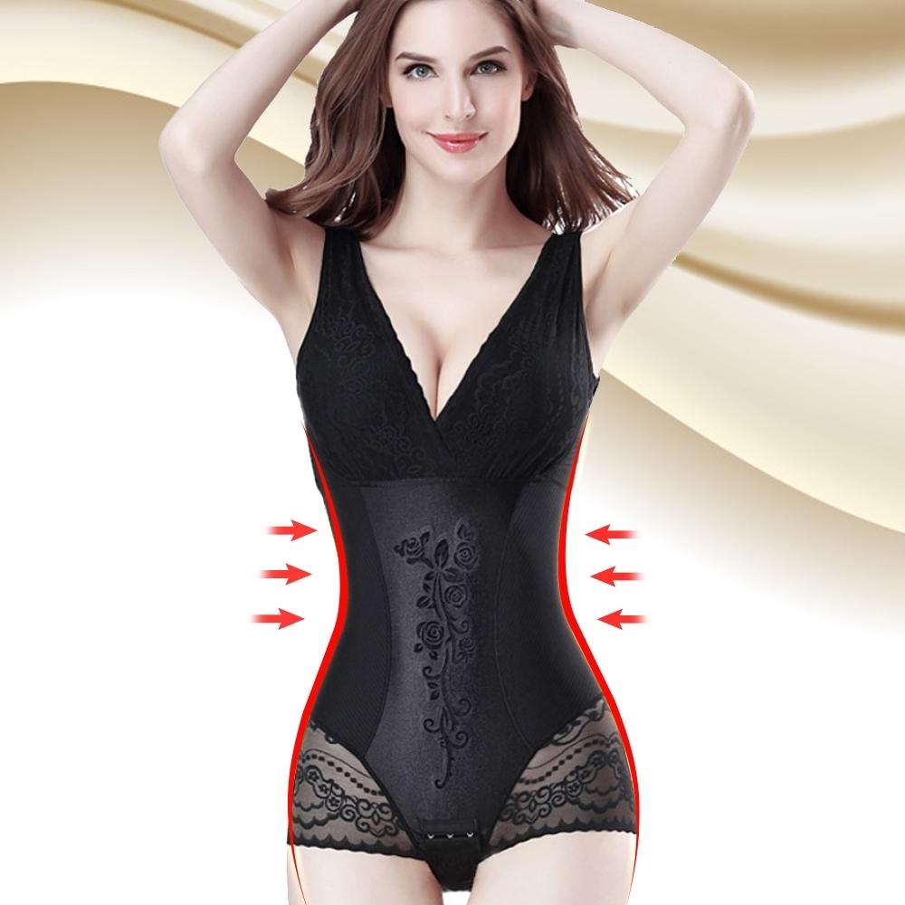 塑身衣 3S美體420D美體花語超束覆胸式三角束衣 晶鑽黑 ThreeShape