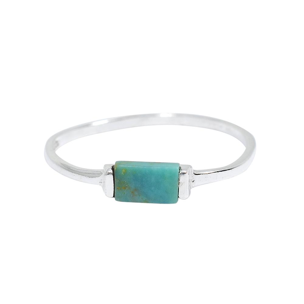 Pura Vida 美國手工 綠松石長方造型銀色純銀戒指