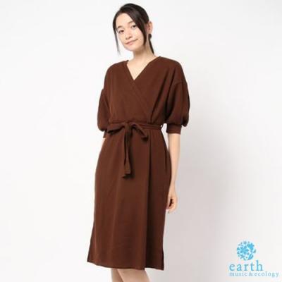 earth music 2WAY兩面穿腰際綁帶蓬袖洋裝