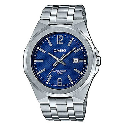 CASIO 現代都會城市風格型男不鏽鋼腕錶-藍面(MTP-E158D-2A)/44mm