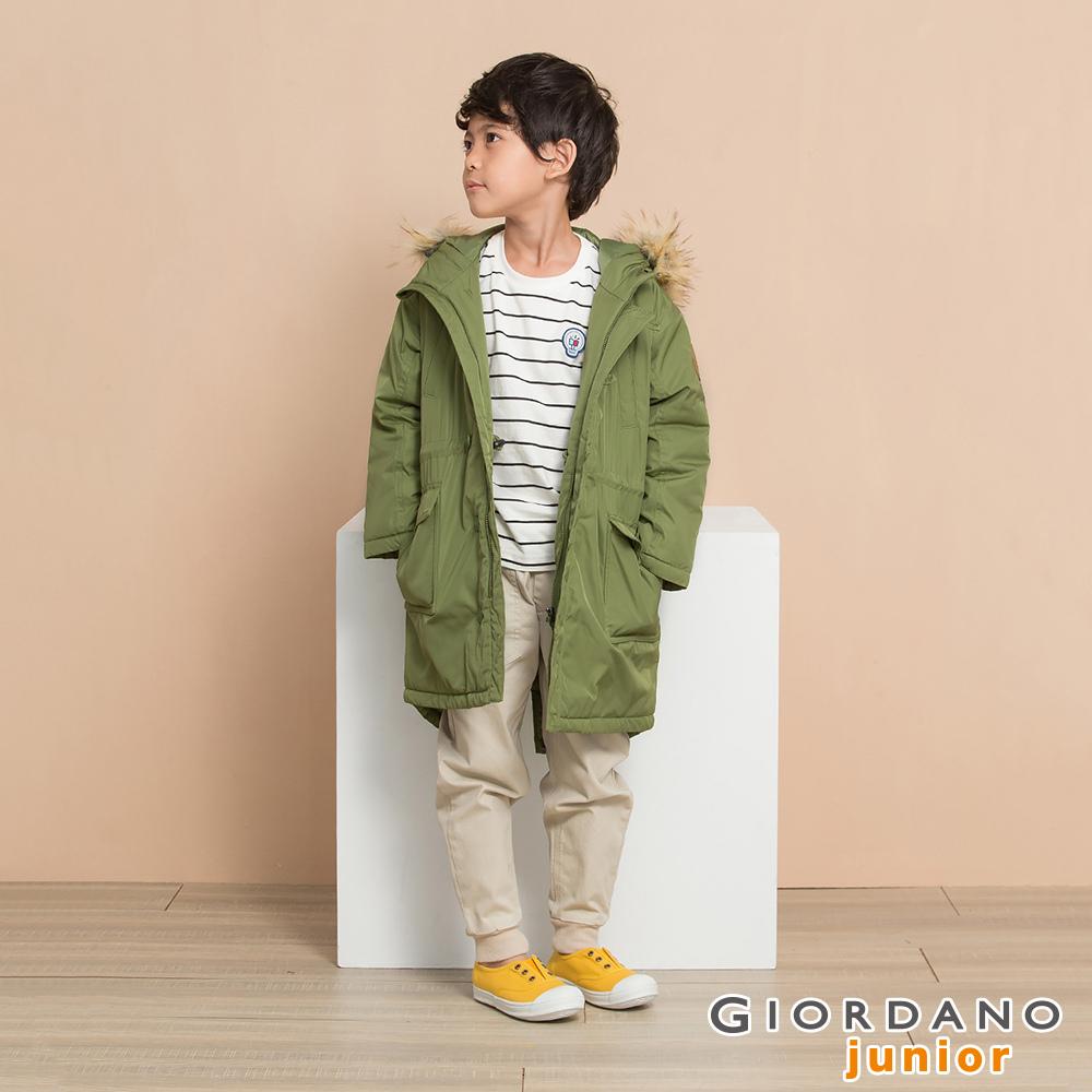 GIORDANO 童裝多口袋皮革徽章中長版連帽鋪棉外套-57 凱旋綠
