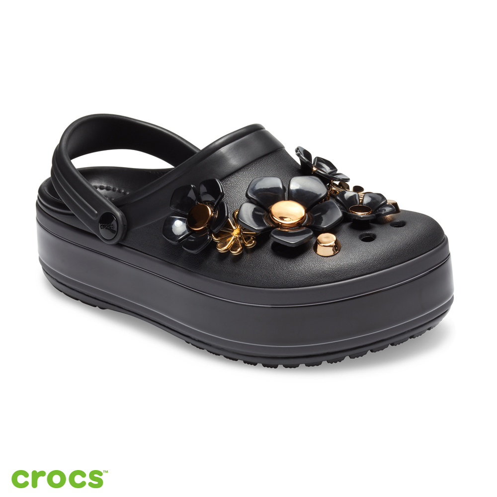 Crocs 卡駱馳 (中性鞋) 金屬花朵厚底卡駱班 205700-001