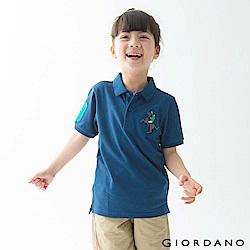 GIORDANO 童裝彩色拿破崙刺繡彈力萊卡短袖POLO衫-42 雪花深鯨魚藍