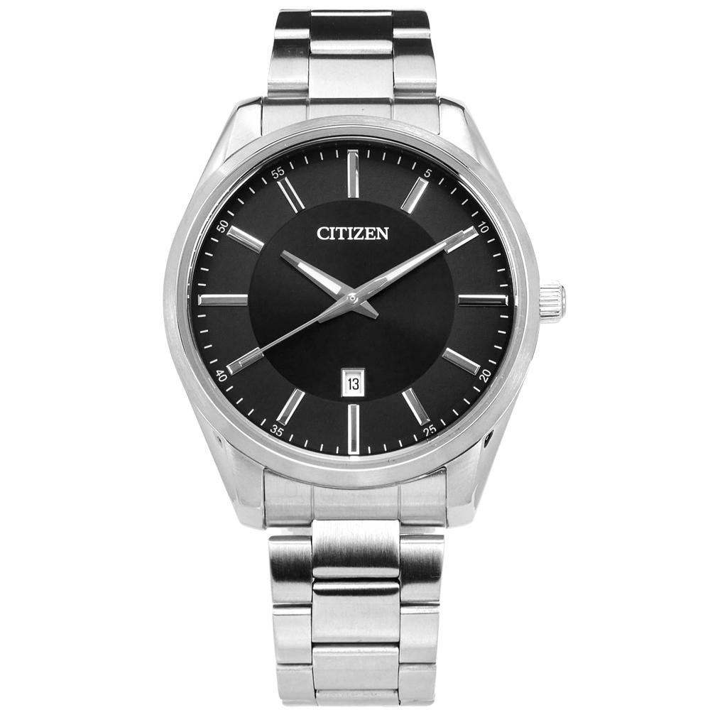 CITIZEN 商務日本機芯日期防水百米不鏽鋼(BI1030-53E)手錶-黑色/42mm