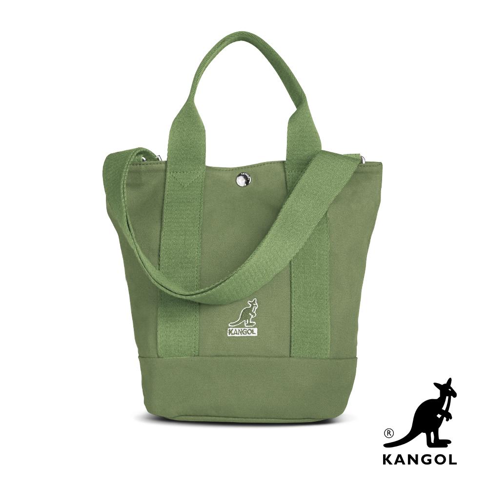 KANGOL 韓版玩色-帆布手提/斜背釦式小型水桶包-草綠 AKG1217