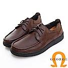 GEORGE 喬治皮鞋 舒適系列 柔軟真皮寬楦粗繩鞋帶休閒鞋 -咖