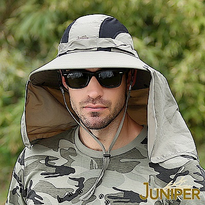 JUNIPER 超大頭圍抗UV遮陽防潑水高頂漁夫帽+披風
