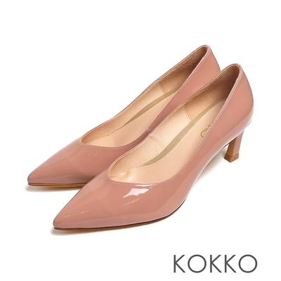 KOKKO時尚細尖頭素面鏡面牛漆皮小貓跟粉紅色