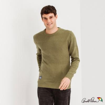 Arnold Palmer -男裝-圓領緹織配條休閒針織衫-綠色