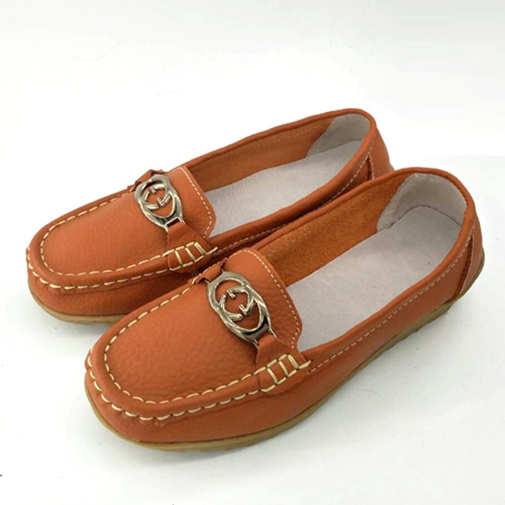 韓國KW美鞋館-(現貨)休閒時尚G扣真皮鞋(共2色) (橘)