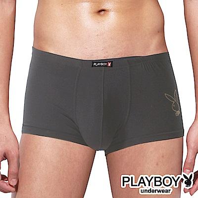 PLAYBOY 兔頭LOGO嫘縈柔感四角褲 平口褲~單件~灰