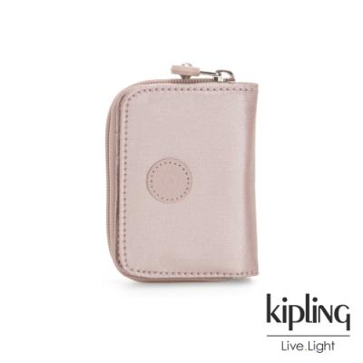 Kipling 嬌柔玫瑰金色短夾-TOPS