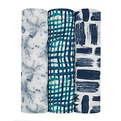 美國aden+anais新生兒絲柔(竹纖維)包巾3入-蒼藍AA9222