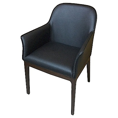 AS-Flora胡桃色黑皮面實木餐椅-55x50x86cm